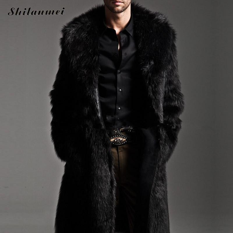 Men Winter PU Leather Moto Jacket Thicken Long Trench Fur Coat Jackets Outerwear Men Collar Overcoat jaqueta jeans masculina 4XL