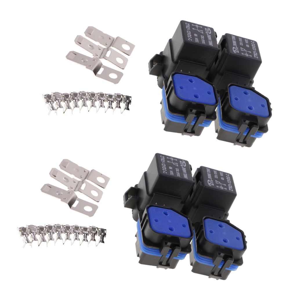 4 Sets 12V 40A 5-Pin Relay and Relay Holder Socket Integrated with Terminals dc 12v volts 40a insulation housing nc spst 4 pin car power relay jd1912 10 pcs