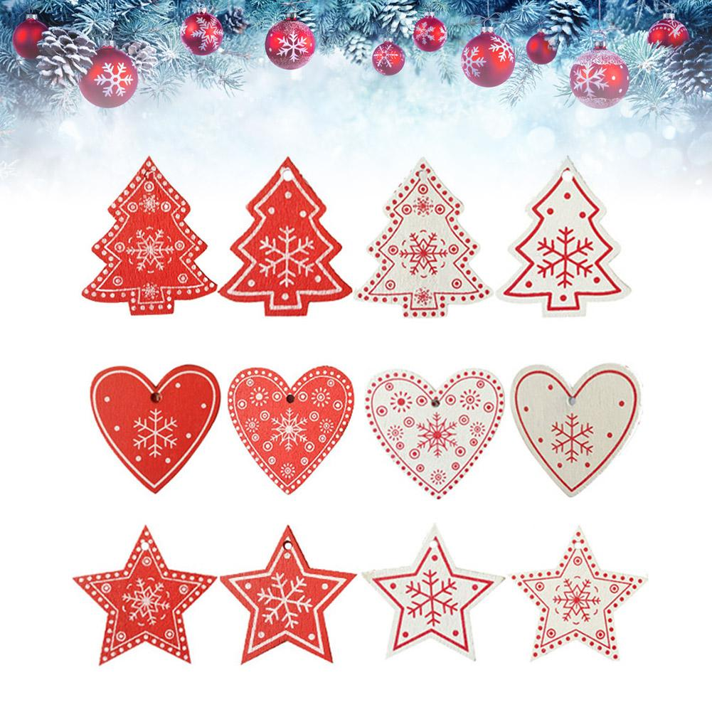 10pcs christmas wooden love heart pendant hristmas tree decorations interior door hanging navidad christmas decorations for home in pendant drop ornaments - Inside Door Christmas Decorations