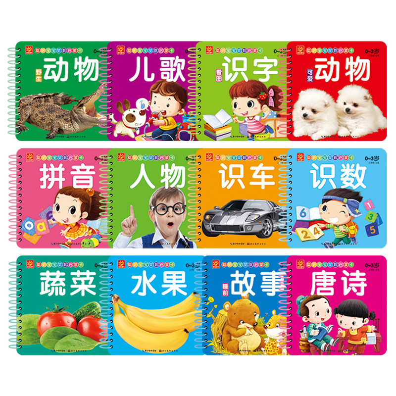 Chinese Characters Cards: Chinese Book With Pinyin English And Pictures Book For Kid Children Animal/Songs/ Fruit Cognitive Card