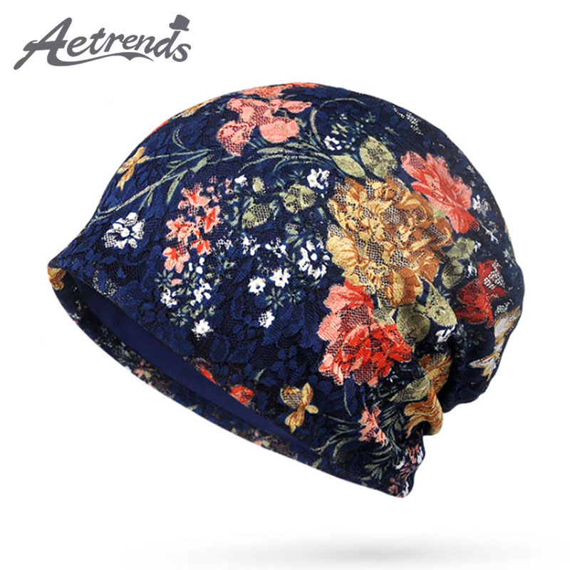 [AETRENDS] 2017 Autumn Lace Beanies Floral Hats for Women Female Slouch Caps Beanie Hat Z-5346 female caps for autumn