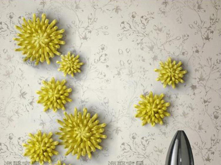 Decor Mural European Style Daizy Three Dimensional Wall Flowers