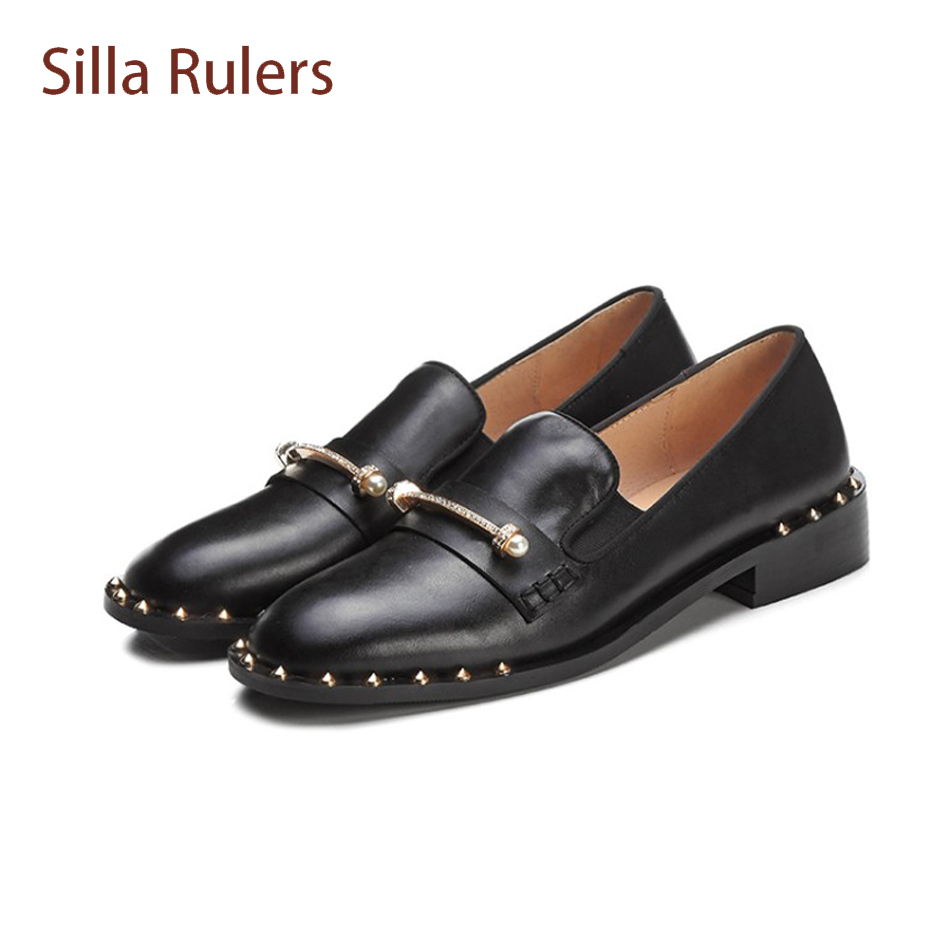 Silla Rulers pearl crystal stud metal chain casual shoes black genuine leather slip on single shoes rivet beading cozy shoes