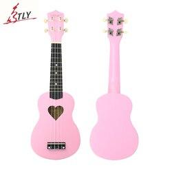 تخفيض كبير على جيتار صغير من Mcool مقاس 21 بوصة باللون الوردي القيثارة القيثارة بأربعة أوتار على شكل قلب من خشب الباسوود موديل Uke
