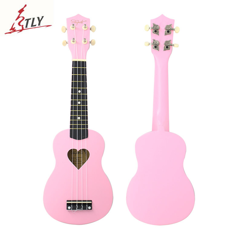 Vanzare calda Mcool 21 inch Roz Ukelele Ukulele 4 String Hawaii Mini Guitar Harte in forma de inima Hole Bass Wood Uke