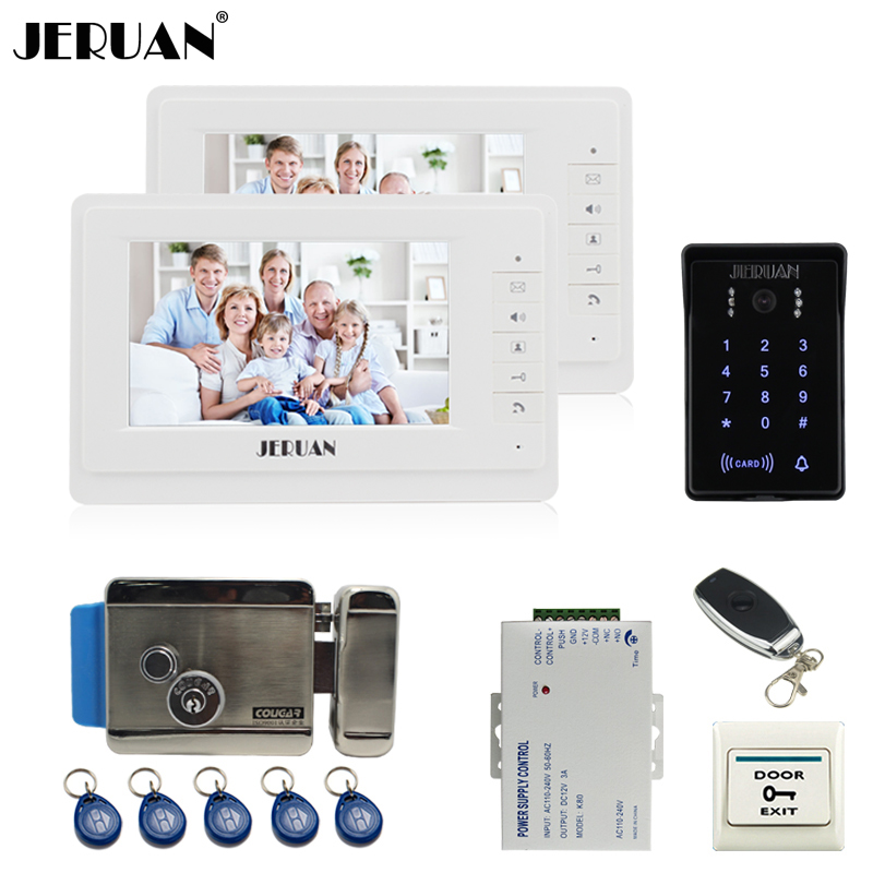 JERUAN 7`` LCD video door phone intercom system Kit 2 monitor brand new RFID waterproof Touch Key password keypad Camera E-Lock jeruan 8 inch tft video door phone record intercom system new rfid waterproof touch key password keypad camera 8g sd card e lock