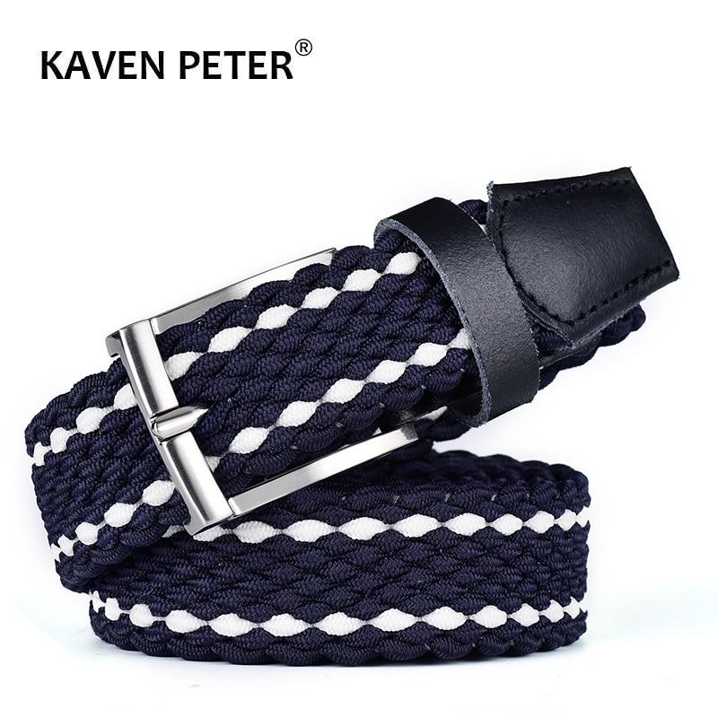 Men Elastic Stretch Leather Belt Canvas Braided Woven Long Waist Belt 3.0 CM Genuine Cowskin Belt Top Tip For Men 95-160 CM