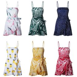 Sexy Women Ruffles Boho Sundress Summer Leaf Pineapple Print Beach Dresses Party Vestidos 6
