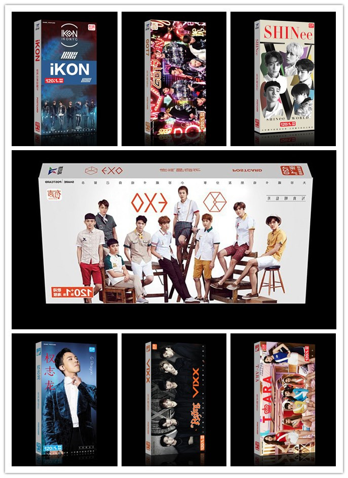 Kpop BTS GOT7 EXO CNBLUE INFINITE BIGBANG G-DRAGON Album Artbook Postcard Sticker 120Cards+1Poster Bookset Photo Gift Collection
