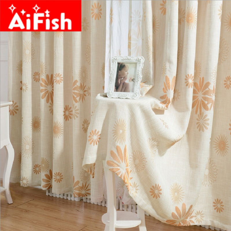 Rustic Romantic Orange Small Fresh Floral Cotton Linen Jacquard Blackout  Cloth Window Curtain For Living Room Decor AP212 U002620