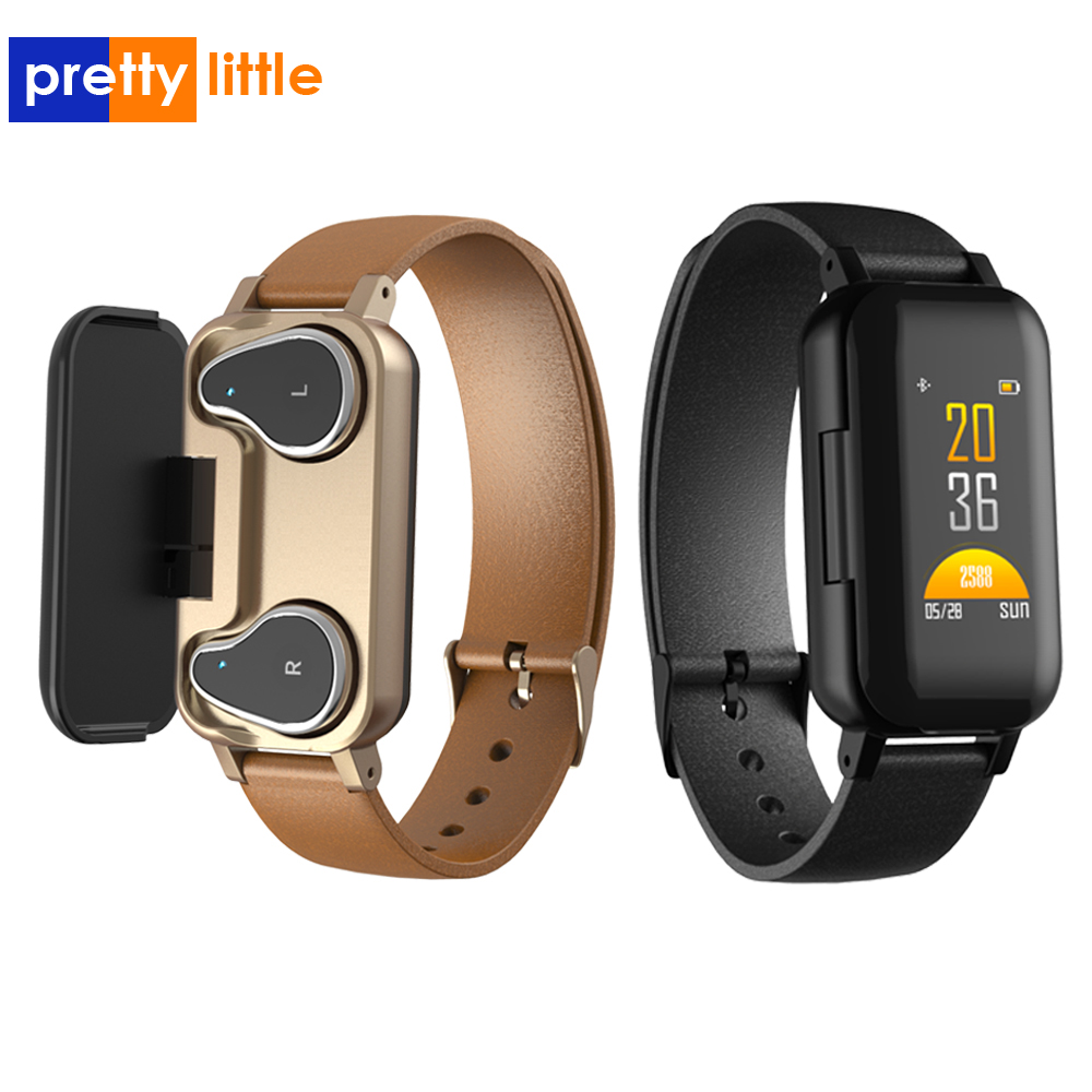 T89 Dual Bluetooth 5 0 Earphone Smart Bracelet Heart Rate Blood Pressure Tracker Smart Watch Men