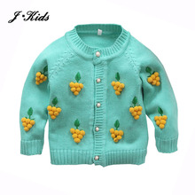 70-110cm toddle girls clothes 2016 New cute 3D grape pearl button cotton knitting sweater cardigan outfits for baby girl