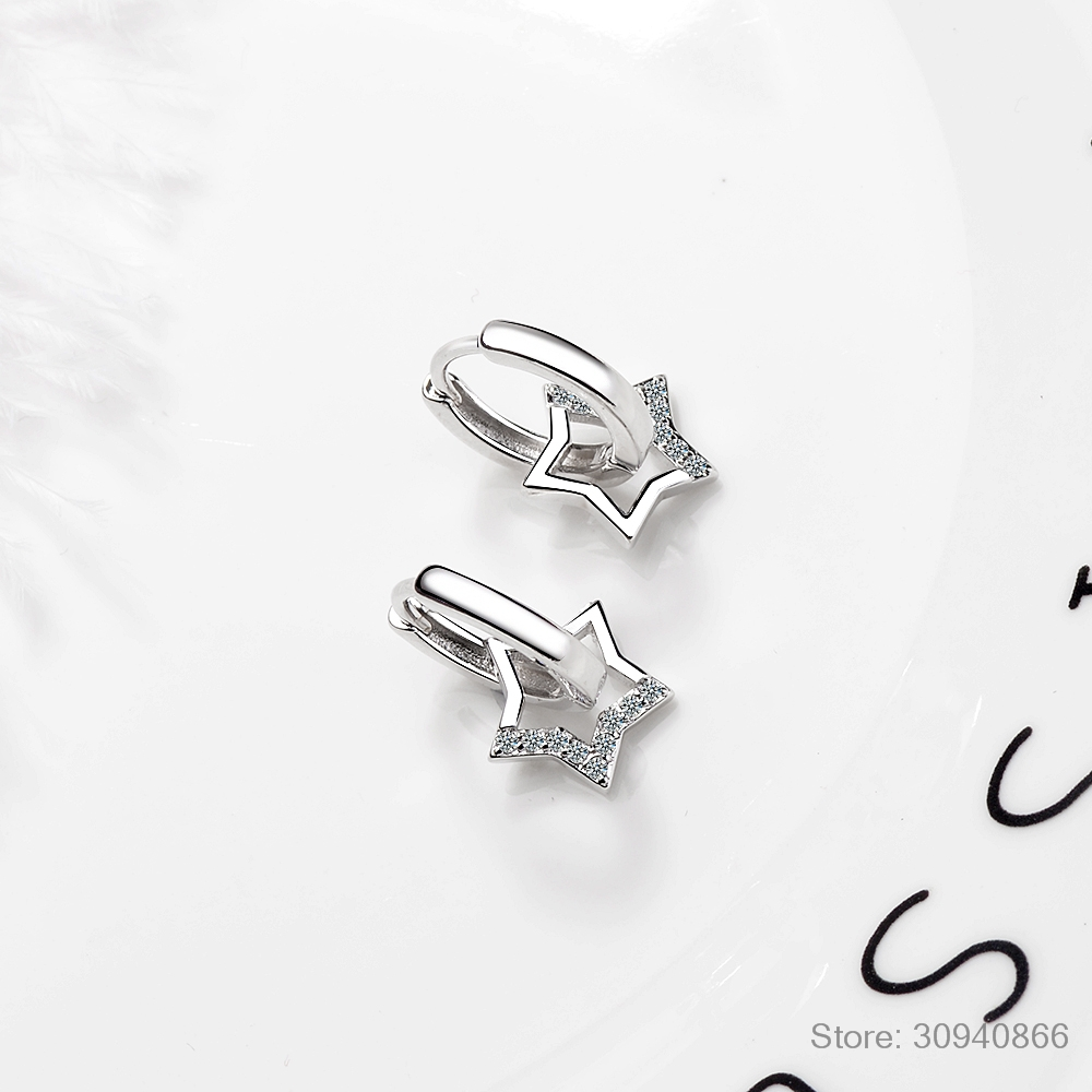 Real 925 Sterling Silver Hollow Star Hoop Earrings For Women sterling-silver-jewelry Small Creole Earring Boucle d'oreille