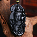 Drop Ship Bead Curtain AAA+++ Natural Obsidian Scrub Pendant Black Guanyin Head Pendants Transhipped Buddha Head
