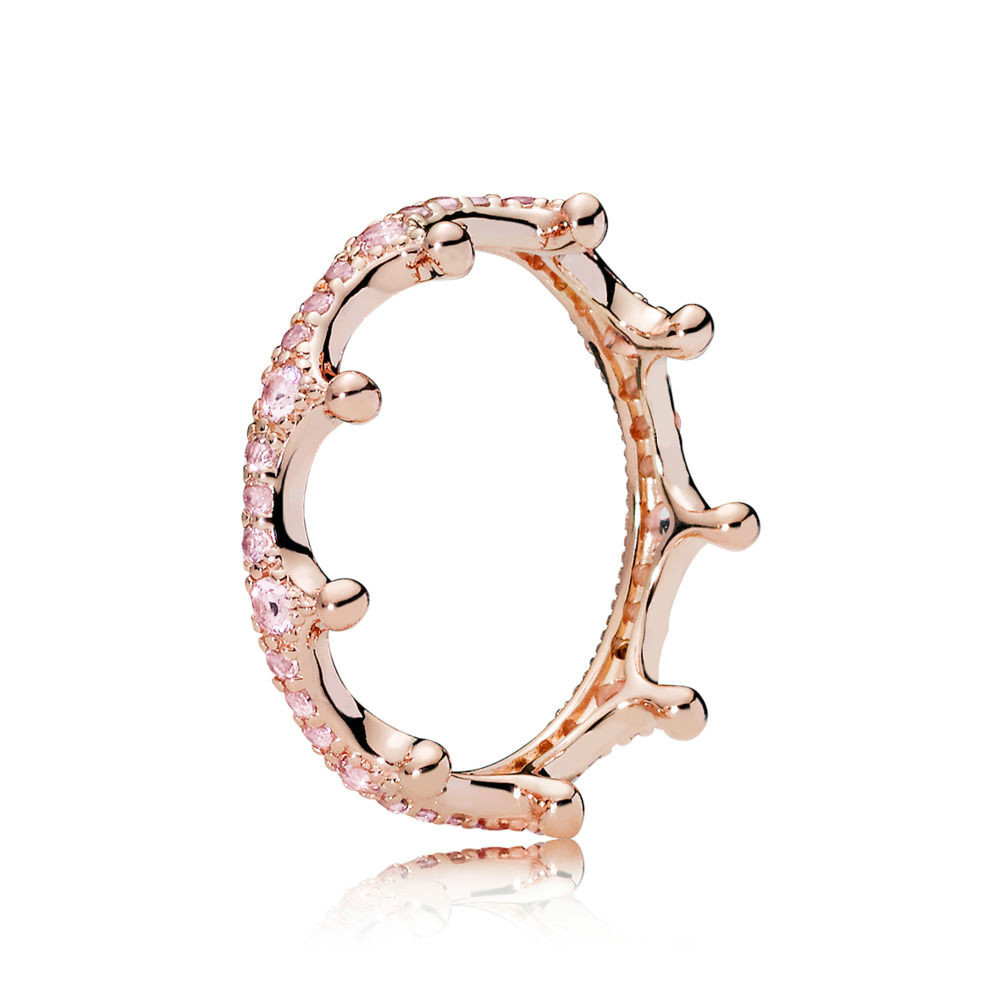 NEW 100% Sterling silver 1:1 Glamour 187087NPO ROSE PINK ENCHANTED CROWN RING Original Women wedding Fashion Jewelry 2019NEW 100% Sterling silver 1:1 Glamour 187087NPO ROSE PINK ENCHANTED CROWN RING Original Women wedding Fashion Jewelry 2019