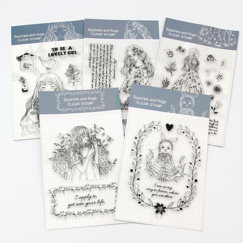 1Pcs Lovely Girl Transparent Silicone Rubber Clear Sheet Stamps Scrapbooking Embossing DIY Diary Photo Album Paper Card Craft lovely bear and star design clear transparent stamp rubber stamp for diy scrapbooking paper card photo album decor rm 037
