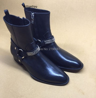 Best selling fall Classic Chain Harness Boot stacked heel Western inspired style men's boots Rome Style Man Ankle boots shoes