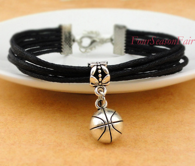 Customizable Black Cord Handmade Infinity Love Basketball Bracelet Custom Mom Sports Team