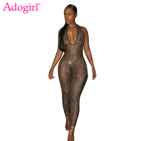 Adogirl Sexy Sheer Mesh Patchwork Gold Sequins Bodycon Jumpsuits Deep V Neck Open Back Halter Bandage
