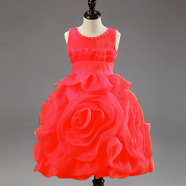 339f96abc 2015 Summer Wedding Girl Dresses Red White Flower Princess Party ...