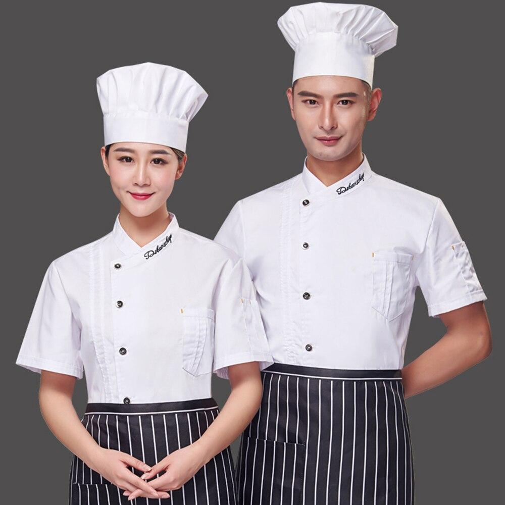 M/änner Frauen Kurzarm Atmungsaktive Kochjacke Catering Restaurant Sommer K/üche Arbeit Uniform Koch Kleidung f/ür B/äckerei