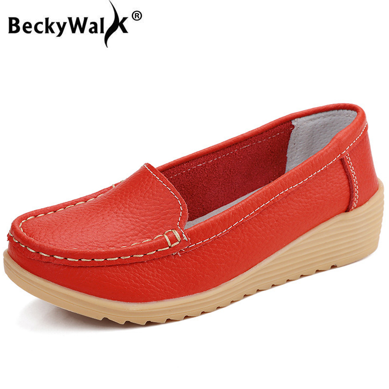 BeckyWalk Genuine Leather Women Shoes for Mother Wedge Low Heels Casual Shoes Woman Slip-on Spirng Autumn Female Shoes WSH2693 aiyuqi 2018 new spring genuine leather female comfortable shoes bow commuter casual low heeled mother shoes woeme page 4