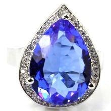 9 # Vendimia Ricos Violeta Azul Tanzanita, blanco Topacio SheCrown Creado mujer 925 Anillo de Plata 22x16mm
