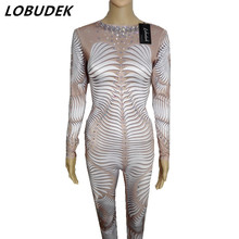 3D Printing Personality DJ DS stage costumes Leotard Elastic Flash Crystals jumpsuit Nightclub Singer Bar Lead Dance performance