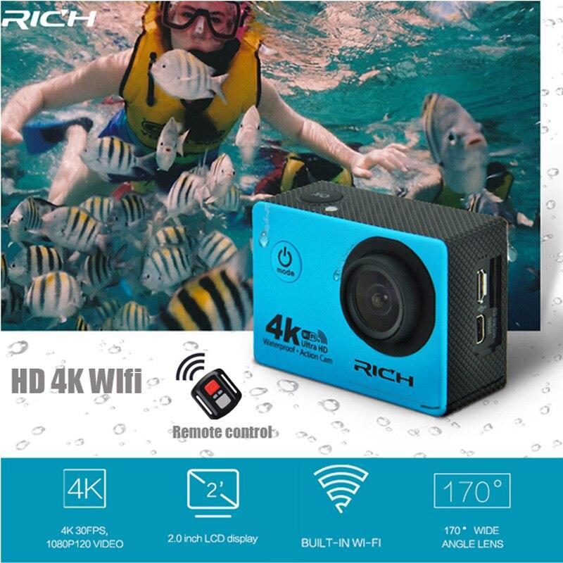 RICHE Action Caméra G350R HD 4 K 1080 P Wifi Télécommande 170D Lentille Mini Came D'entraînement 30 M Étanche Sport Caméra
