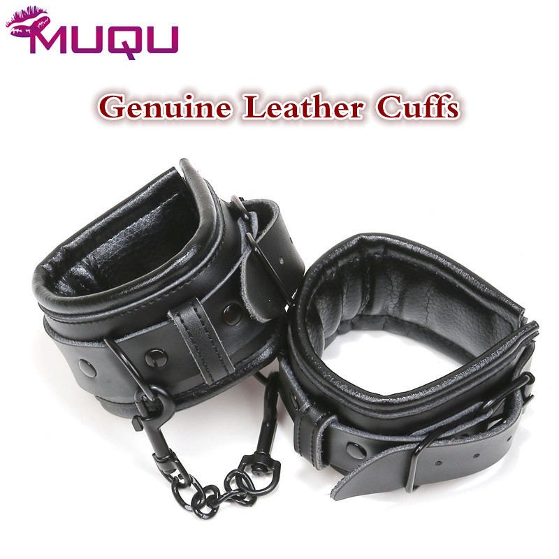 High Quality Hand Cuffs Genuine Leather Black Ankle Bondage Metal Bdsm Fetish Sm Toys Restrains Adult Games Sex Toys For Couples
