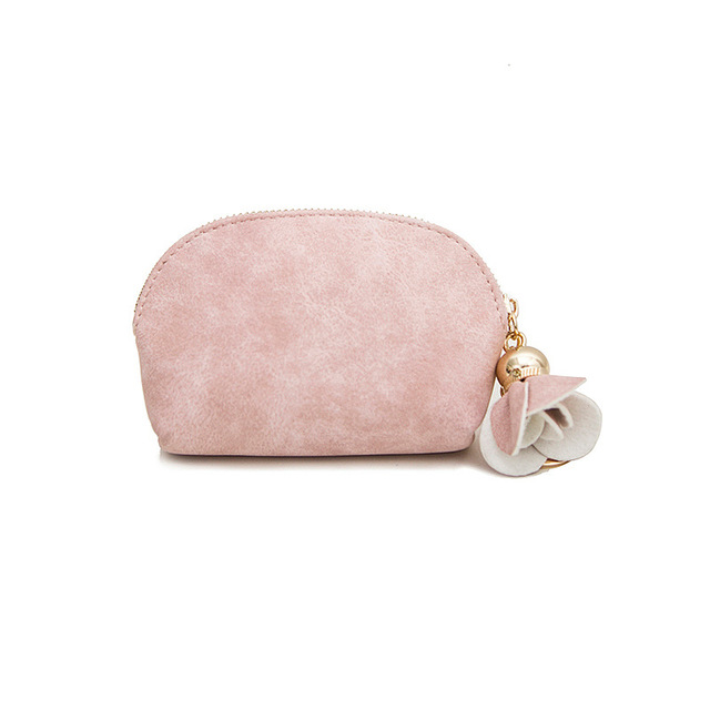 Lovely Flower Decorated Small Oval Leather Coin Purse