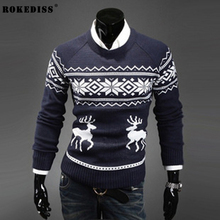 ROKEDISS Fashion 2017 Winter New Man Casual Sweater men Turtleneck Pullovers Knitted Clothing printing Mens Sweaters Z205