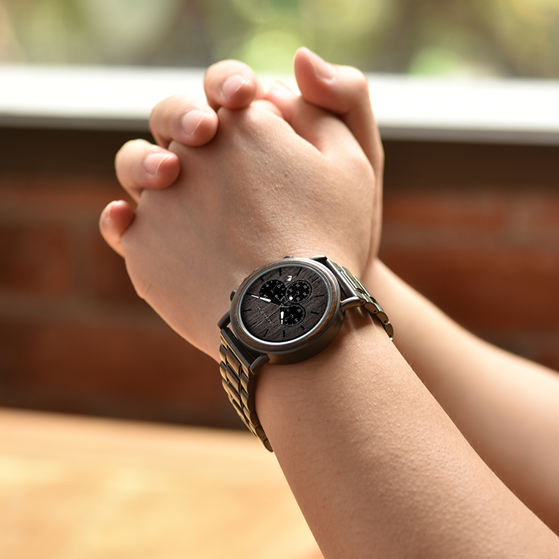 BOBO BIRD Business Men Watch Metal Wood Wristwatch Chronograph Date Display with Gift Box relogio masculino U-Q26