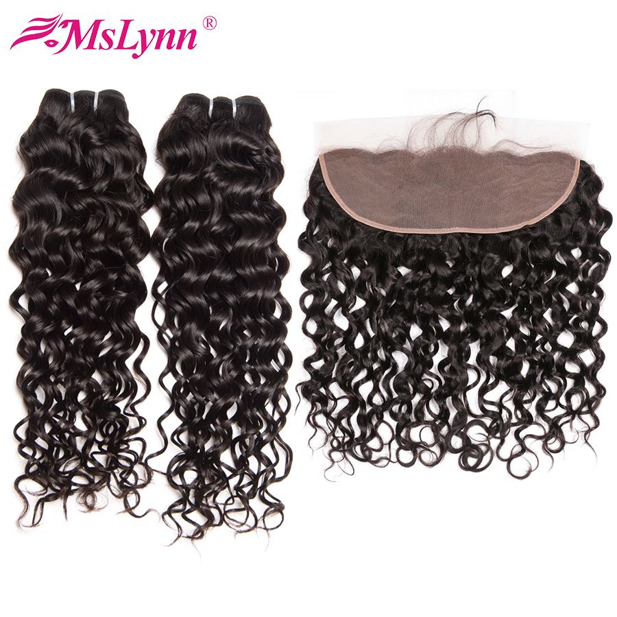 Mslynn Water Wave Bundles With Closure Brazilian Hair Weave Bundles With Closure Human Hair Bundles With Frontal Non Remy 3 Pc