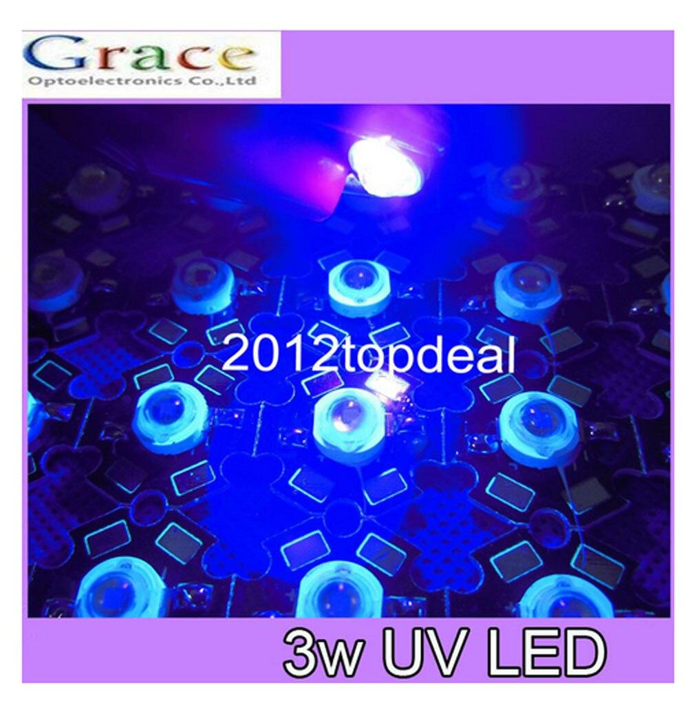 50pcs 3W 395nm UV LED Ultraviolet LED Chip Light High Power Black LED Bead