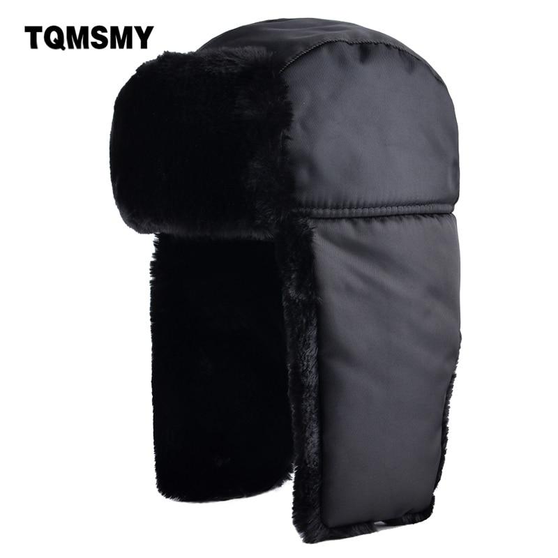 Detalle Comentarios Preguntas sobre TQMSMY sucinta invierno bombardero  sombreros para hombres gorras color sólido más grueso hueso ruso nieve  sombrero del ... 62c7afb7a86