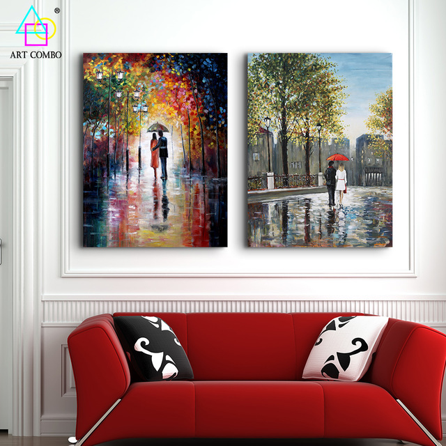 beautiful landscape painting sweetheart with umbrella print oil