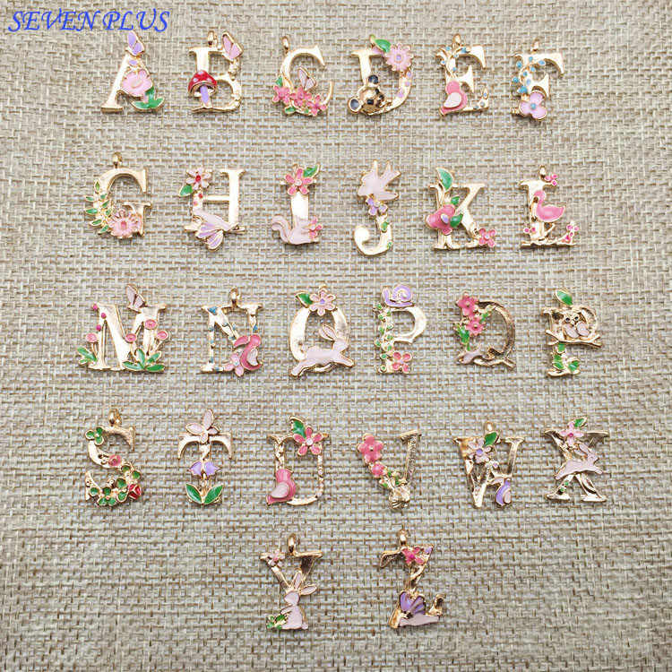 High Quality 1 Pieces/Lot 13*18mm Gold Color Flower Letters Charms Alphabet Initial Bracelet Charm Pedant For Jewelry Making A-Z
