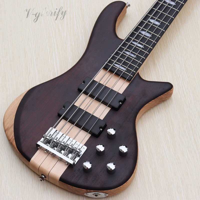 high quality hickory wood top 5 string active through neck electric bass guitar in guitar from. Black Bedroom Furniture Sets. Home Design Ideas