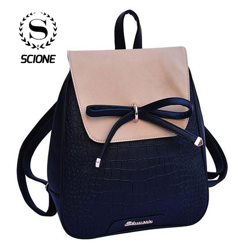 Scione Women Bowknot Backpacks Pu Leather Travel Casual Bags High Quality Classic Patchwork Cute School Bagpack For Teenagers