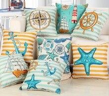 Sea Anchor blue Throw Cushions Cover funda cojin 45x45cm Home- Bedroom Pillows Accessories Pillowcase Cover Art Cotton Linen B50