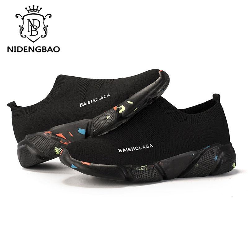 Summer Men Casual Shoes Breathable Mesh Slip On Male Fashion Footwear Slip on Comfortable Leisure Shoes Men Black Sock Sneakers 5