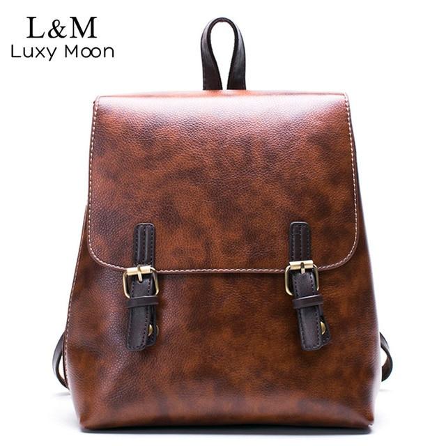 Black PU Leather Backpack Women High Quality Vintage Backpacks ...