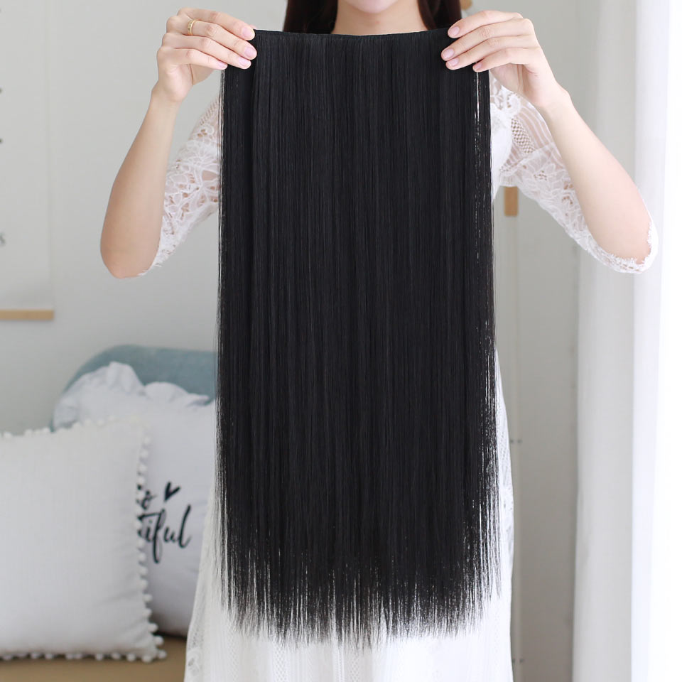 MSTN Ladies 38 Inches 5 Clips Synthetic  Long Straight Hair Clips In Hair Extension Wig Brown / Black Hair Piece Headwear