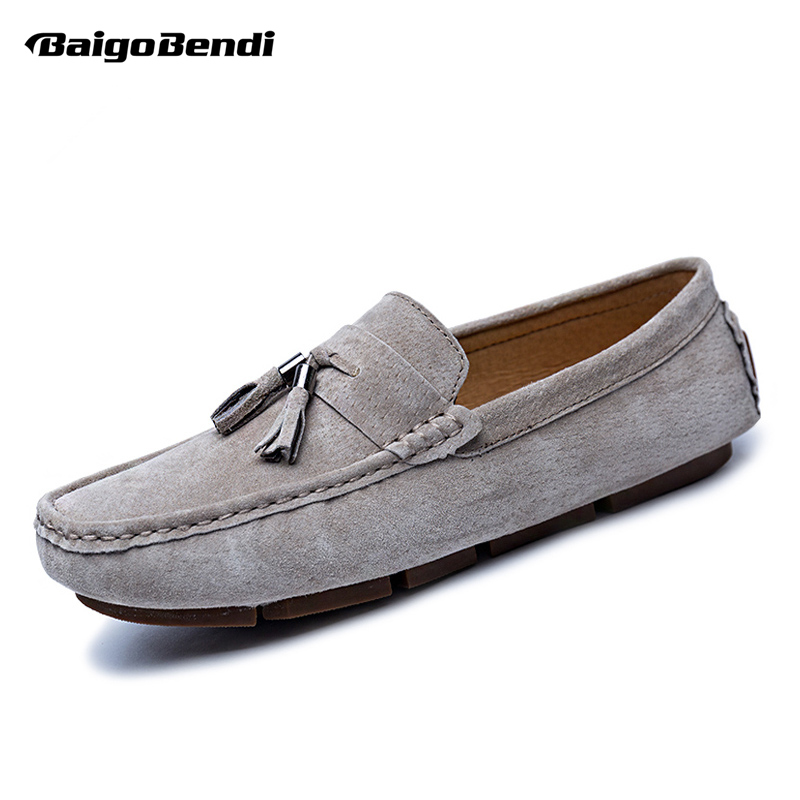 US6-11 Big Size 45 Cow Suede Leather Mens Slip On Fringe Loafers Casual Tassel Moccasin Winter Warm Cotton Shoes