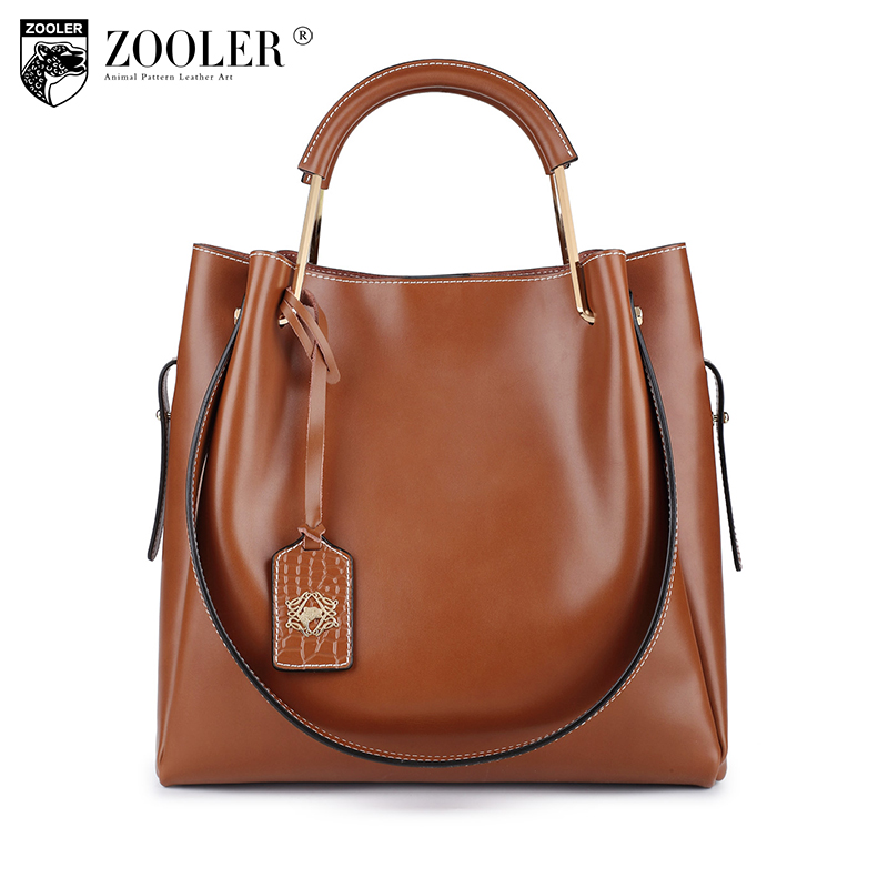 ZOOLER BRAND Genuine Leather bag bags Handbags woman famous brand Shoulder bags composite women bag cowhide 2018 new#6985 new product sales zooler brand zipper cowhide bag top handle shoulder bag simply solid genuine leather bag women bag bolsas c108