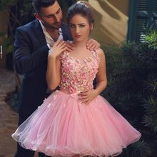 Hot sale Short Cocktail Dresses  Sexy Backless Mini Prom Gowns Pink Tulle Flowers Beads A-line Homecoming Party Dress