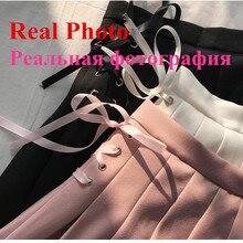 2017 Summer New Fashion Solid Denim Pleated Skirt Harajuku Lace-Up Hight Waist Casual Sexy Micro Mini Short School Skirts Women