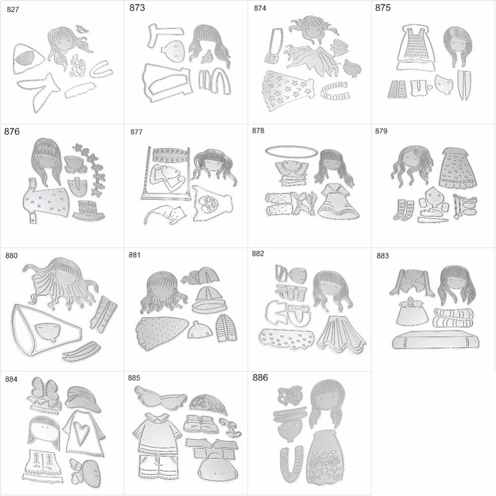 Fasion Girl Clear Steel Cutting dies and Clear Stamp Set for DIY Scrapbooking Photo Album Decoretive Embossing Stencial angel and trees clear stamp variety of styles clear stamp for diy scrapbooking photo album wedding gift cl 163