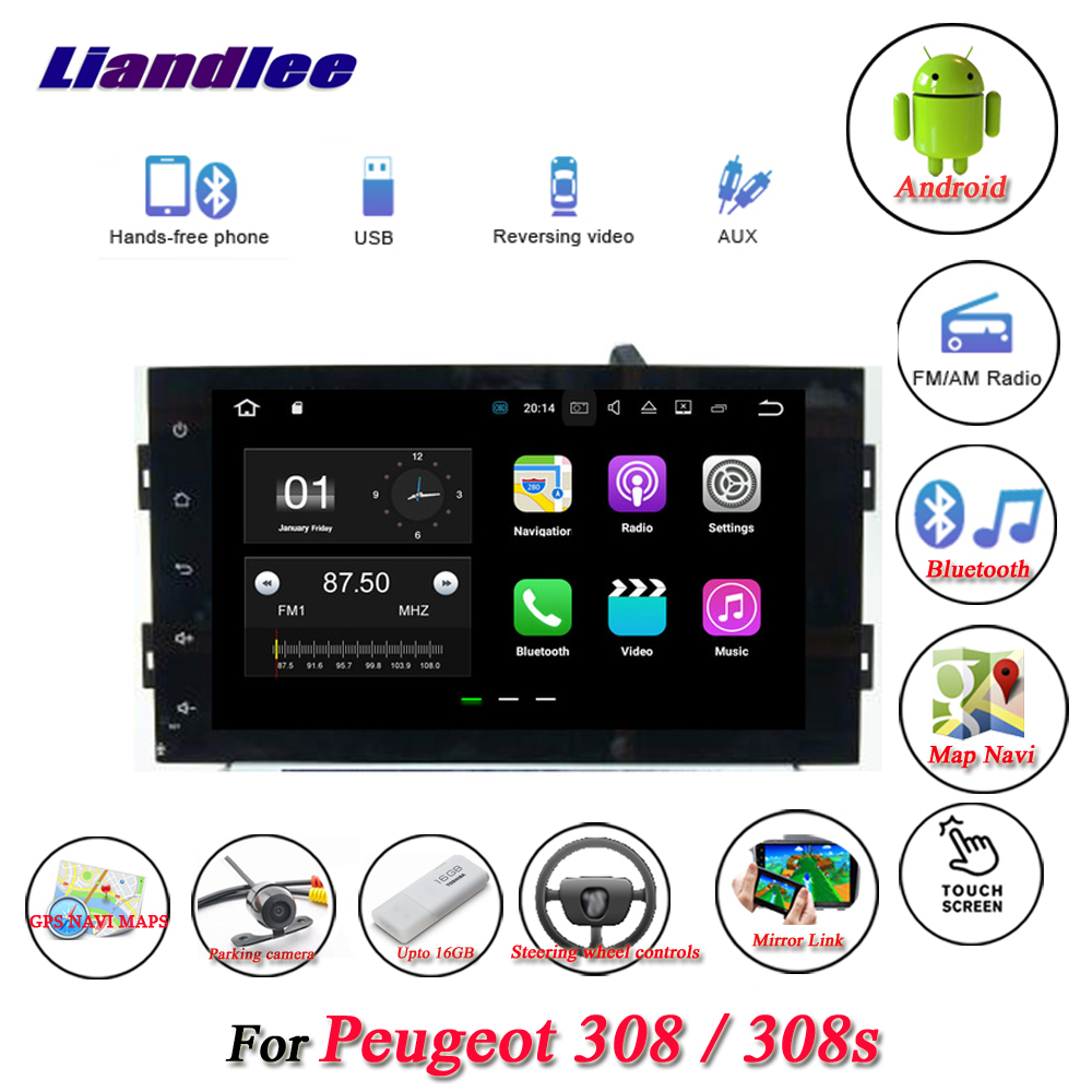 Liandlee Car Android System For Peugeot 308 / 308s Radio Stereo Viedo BT GPS Navi MAP Navigation Screen Multimedia NO DVD Player liandlee car android system for chevrolet malibu xl 2016 2018 radio viedo bt gps navi map navigation screen multimedia no cd dvd